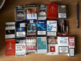 From around the world, empty cigarette boxes