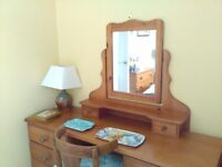 Pine mirror.Freestanding dressing table mirror with two small drawers.