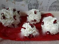STUNNING BRAND NEW, Ivory, wedding/ bridesmaids bouquets. Burgundy detailing, shabby chic style