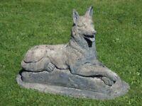 Stunning Vintage Cast Stone Laying Alsatian Dog Garden Statue 42cm Tall