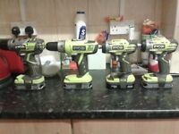 RYOBI SET ALL NEW AND WITH BATTERIES