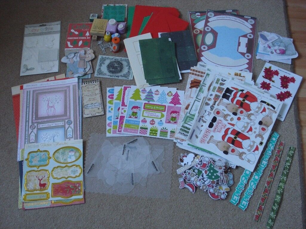cardmaking bits includes bases punches papers toppers decoupage embossing folder and stamps