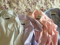 "Four TM Lewin checkered 17"" collar shirts"
