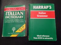 Harraps Italian grammar and Collins Italian dictionary