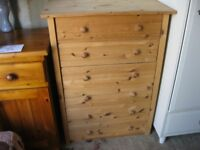MODERN STRIPPED PINE UPRIGHT CHEST OF 6 DRAWERS. VIEWING/DELIVERY AVAILABLE