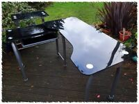 "Large ""Adaptable"" Computer Desk - Black Glass & Silver Steel - £45 ono."
