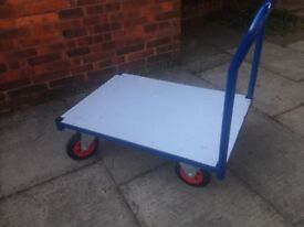 Heavy Duty Flatbed Trolley Industrial Large Trolley Removable Handle so can be used as a dolly
