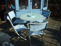 GARDEN TABLE AND 4 CHAIRS SET GLASS TABLE TOP FREEBIE