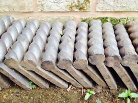 Victorian edging bricks, various designs (rope edge,knot,spot) in grey and red.