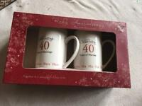 Ruby his and hers mugs celebrating 40 years marriage new £4