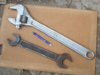 Adjustable Wrench 2 1/4 maximum opening of jaws 1.5 feet long + King Dick Open ended Spanner
