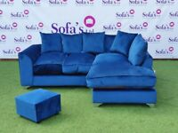 EXCLUSIVE PLUSH CORNER SOFA + FREE MATCHING FOOTSTOOL & FREE DELIVERY ALL INCLUDED