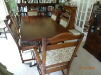 SOLID OAK - OLD CHARM DINING TABLE AND SIX CHAIRS