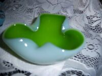 Murano Green & White Opalescent Glass Bowl