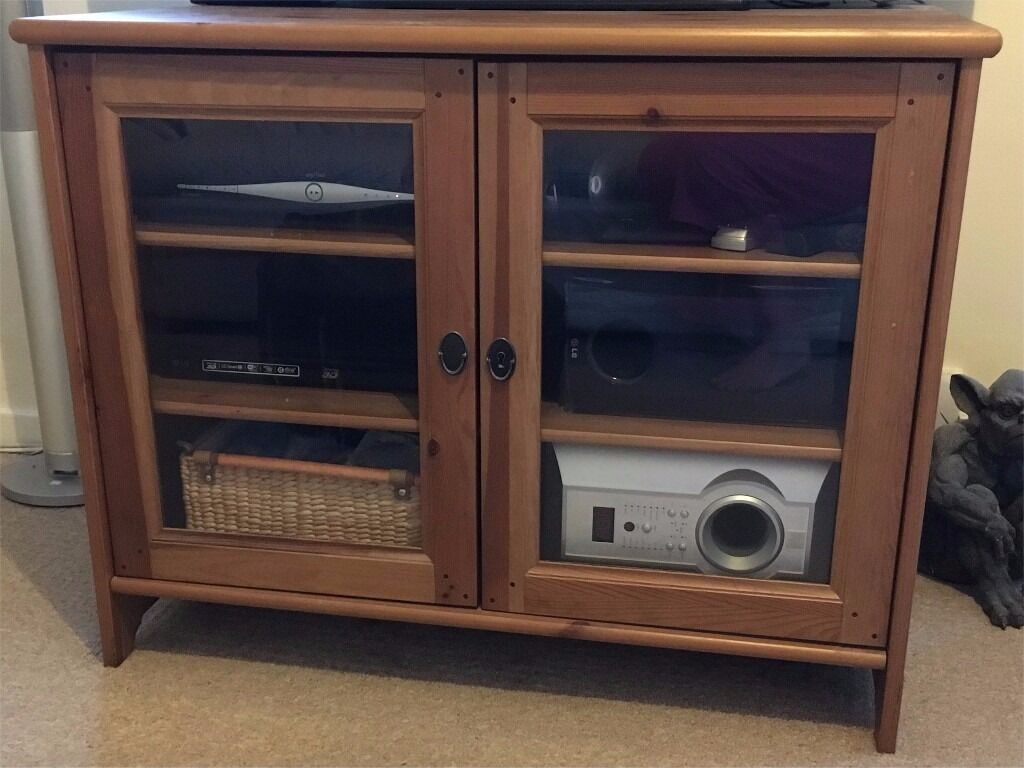 ikea leksvik antique pine tv cabinet with glass doors and key in shoeburyness essex gumtree. Black Bedroom Furniture Sets. Home Design Ideas