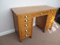 Solid Oak Desk with brass handles, vg condition.