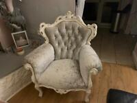 Shappyshic french styal, grey crushed velvet with diamond studs. 3 seater and a 1seater