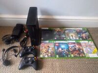 XBOX 360 250GB with 3 controllers and 8 games