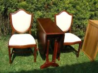 CAN DELIVER - MAHOGANY DROP LEAF DINING TABLE AND 2 CHAIRS IN VERY GOOD CONDITION
