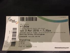 elbow - Sat 3rd Mar 2018 Genting Arena Bham - 1 ticket