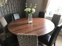 Large round table with 8 John Lewis chairs