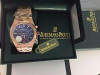 New Swiss Audemars Piguet AP Royal Oak Blue Dial Automatic Watch, See Through back