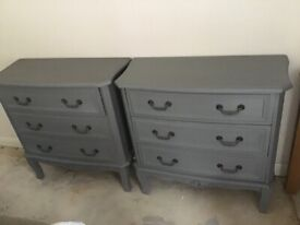 Two Grey french style chest of drawers
