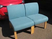 Low padded lounge, bedroom or waiting room chairs (2) suitable for re-upholstering.