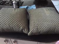 2 feather teal Velvet spot John Lewis cushions