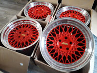 """18"""" INCH R18 BBS RS LM STYLE RED ALLOYS WIRE WHEELS ALLOY STAGGERED VW GOLF AUDI A3 SEAT LEON TT A4"""