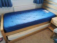 Single bed with extra slide under single and 2 mattresses