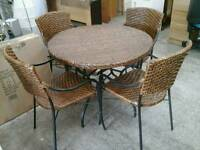 Wicker garden table and 4 chairs