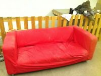 Two sofas, office desk and chairs and storage boxes. Free to collect.