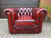 Chesterfield genuine oxblood leather SAXON club chair EXCELLENT CONDITION! BARGAIN!