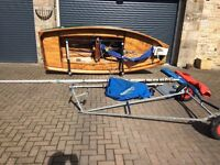 Mirror dinghy and launch trolley