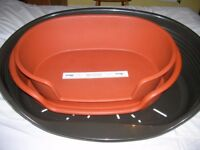 Dog beds x 3, rigid plastic oval, large and XL, as new, sell separately from