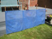 VINTAGE RETRO 1960s BLUE STRIPED CANVAS WINDBREAK/ BEACH / CAMPING / PICNIC / VW CAMPERVAN