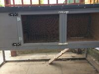 Rabbit Hutch- 2 story, hand built hardwood with fox proof mesh. 6.5Ft x 2Ft RSPCA Approved.
