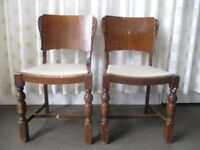 PAIR OF VINTAGE OAK DINING CHAIRS FOR REFURB