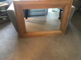 Light oak wall mirror