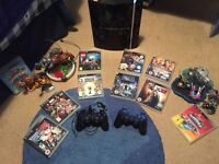Playstation 3 With 2 Controllers & 10 Games Inc