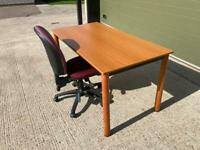 Cherry desk 1.5 wide x .750 mm deep and good spec swivel chair with lumbar support