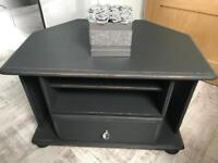 Farrow & Ball grey shabby chic tv stand with crystal handle
