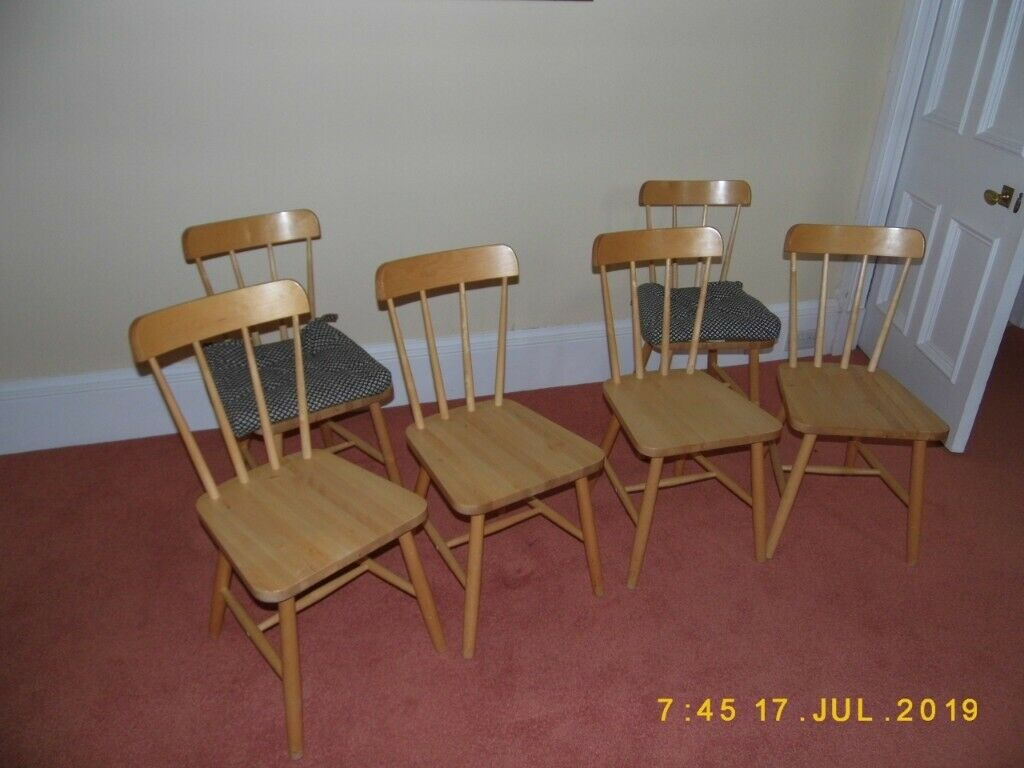 Pleasant Six Ikea Beech Dining Chairs In Galashiels Scottish Borders Gumtree Pdpeps Interior Chair Design Pdpepsorg