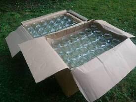 LOADS OF: Square 8oz Jars (144), 190ml Round Jars (82) plus lots of Gold & Black Lids **UNUSED**