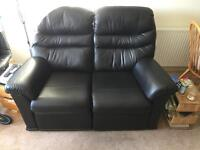 GPlan Black Leather Electric reclining two seater.