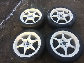 "Buddy club P1 16"" alloys in white 4x100 with tyres honda civic ek4 vti ej9 eg"