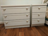Bedroom chest of drawers set in white