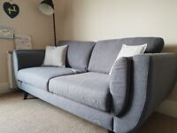 Grey 3 and 2 seater fabric sofa