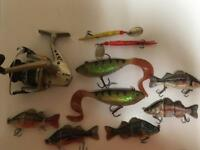 Spinning reel and lures for sale